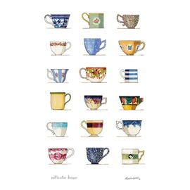 18 Tea Cups - Red Tractor Linen Tea Towel