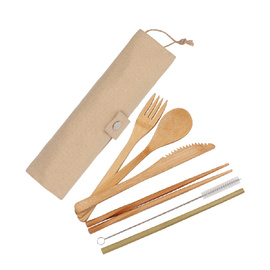 Eco Basics Reusable Bamboo Cutlery Set - White Magic