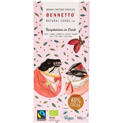 BENNETTO Organic Dark Chocolate Raspberries In Dark 100g